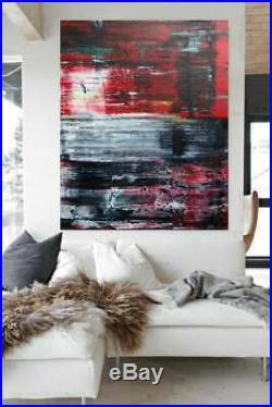 2 Photos Image Toile Noir Rouge Blanc 240x150cm Abstrait XXL Format Unique Neuf