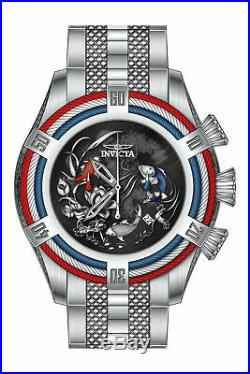 28200 Neuf Homme Invicta Quartz 3 Main Noir, Bleu, Rouge Cadran 54mm Montre