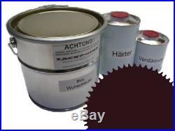 7 Litre Set 2K Peinture Voiture Ral 3007 Noir-Rouge Eclat Uni Aucun Vernis Neuf