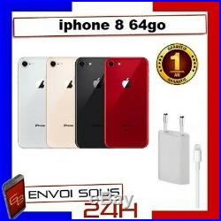 APPLE IPHONE 8 64GO NOIR ROUGE OR ARGENT RECONDITIONNE Pas cher