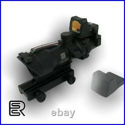 Acog 4x32 Travail Fibre Optique Lunettes Avec Rmr Rouge Viseur Point Neuf Noir