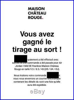 Air Jordan 1 Mid Fearless Maison Chateau Rouge 43 EU 9.5 US Neuf