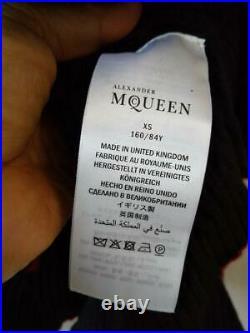 Alexander McQueen Authentique Laine Cachemire Pull Noir X Rouge XS Neuf