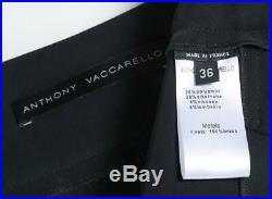 Anthony Vaccarello Noir Mini Découpe Jupe Cuir Rouge Bracelet or US4 FR36 Neuf