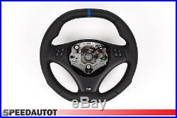Aplati Volant BMW M-POWER E90, E91 Neuf Cuir Couverture Noir Mfu Bleu