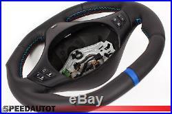 Aplati Volant BMW M-POWER E92, E93 Neuf Cuir Couverture Noir Mfu Bleu Anneau