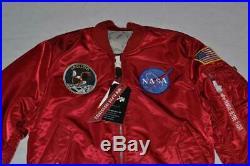 Authentique Alpha Industries Hommes Apollo MA-1 Vol Veste Noir Rouge Tout Neuf