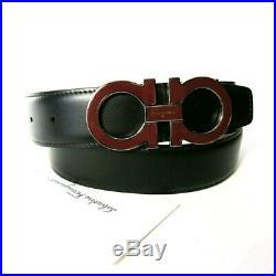 B-584119 Neuf Salvatore Ferragamo Cuir Noir Rouge Ceinture Boucle 85/34