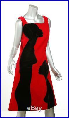 Christopher Kane Femmes Rouge+Noir Contraste Velours Robe sans Manches 8 Neuf