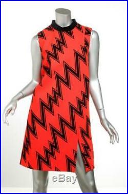 Christopher Kane Femmes Rouge Noir Zig-Zag Velours sans Manche Droit Robe 8 Neuf