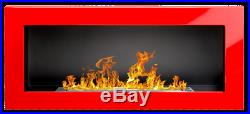 De 90 gel- et cheminée à éthanol Haute Brillance Rouge Poêle bio-cheminée NEUF