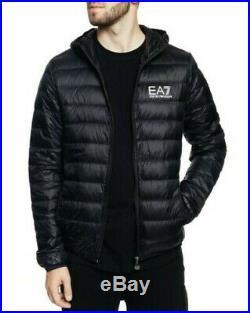 Doudoune Homme Armani EA7 8NPB02 PN29Z Veste à Capuche Noir Bleu Rouge Neuf