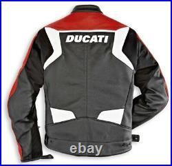 Ducati Dainese Desmo Veste en Cuir Noir Rouge Neuf