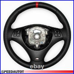 Échange Volant en Cuir BMW M-POWER E90 E91 Neuf Couverture Noir Rouge Anneau