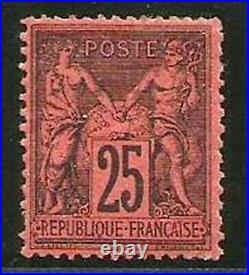 FRANCE N° 91 SAGE 25 C. NOIR S. ROUGE (N sous U) Neuf sans gomme. Cote 500