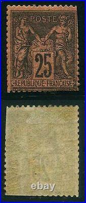 FRANCE N° 91 SAGE 25c NOIR S. ROUGE NEUF x A VOIR