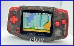 Gameboy Advance Noir transparent et rouge écran IPS v2 rétroéclairé neuf