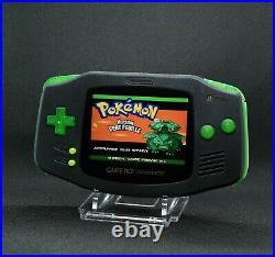 Gameboy Advance Noire et vert transparent écran IPS v2 rétroéclairé neuf