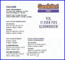 Geekon! Provision Ultimate Jeu de Plateau Sac à Dos Noir État Neuf