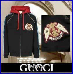 Gucci Band Fermeture Veste Aviateur Sweat Capuche Noir Rouge Arph Femme XL Neuf