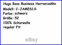Hugo Boss Business Hommes C-James1S 52 Noir Laine Vierge Rouge Étiquette Neuf