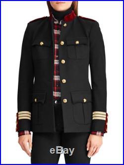 Lauren Ralph Militaire Velours Col Montant Veste Blazer Noir/Rouge Taille 8 Neuf