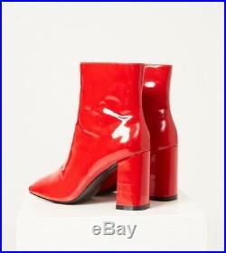 Lf / Jagger Rouge Bloqué Bottines Noir Verni Neuf avec Étiquettes Sz 38 (Us 7.5)