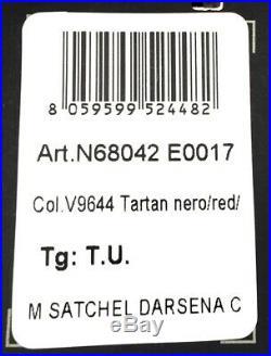 Liu Jo Femmes Sac Sacoche Darsena Tartan Sac Rouge Noir Neuf Étiquette