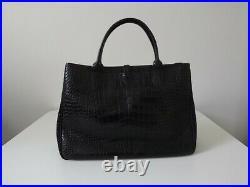 Longchamp Sac A Main Roseau Facon Croco Noir Etat Neuf