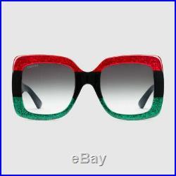 Lunettes de soleil carrées en acétate Gucci, Vert, rouge et noir, neuf