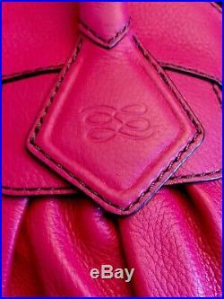 Magnifique Sac Lancel Gousset Grand Modele Rose Vif Surpiqûres Noir Comme Neuf