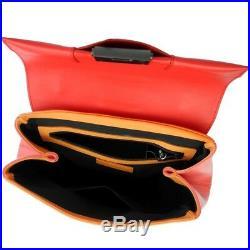 Mandarina Duck Femme Sac en Cuir Épaule à Main Coloré Orange Rouge Noir Neuf