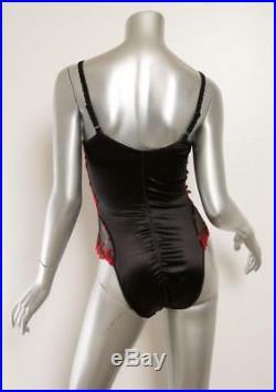Marvel Satin Noir Rouge Floral Maille Dentelle Slip Body Lingerie 3 L 36c Neuf