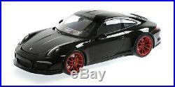 Minichamps 2016 Porsche 911 (991) R Coupe Noir/Rouge Roues 1/12 Échelle Neuf