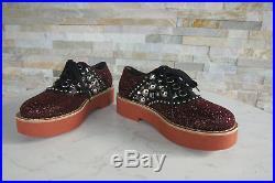 Miu 37 Chaussures Plates à Lacets Paillettes Rivets Rouge Neuf Autrefois