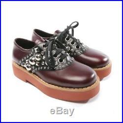 Miu Chaussures à Lacets Taille D 37 Rouge Noir Femmes Neuf Plateforme Studs