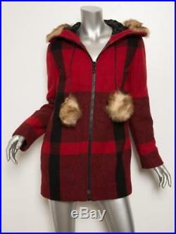 Mûre Rouge Cocher Noir Fur-Trim Capuche Parka Eskimo Manteau 2-6-36 Neuf
