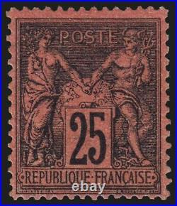 N°91, Sage 25c noir sur rouge, neuf infime trace, quasi TB