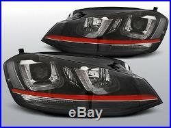 NEUF! Projecteurs LED DRL Inside VW GOLF 7 VII Noir avec Rouge LINE GTI Look FR