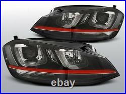 NEUF Projecteurs LED DRL Inside pour VW GOLF 7 VII Noir avec Rouge LINE GTI Look