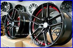 Neuf 20 inch 5X115 HAXER HX037 Roues Noir Rouge Semi Forgé Pour Dodge Challenger
