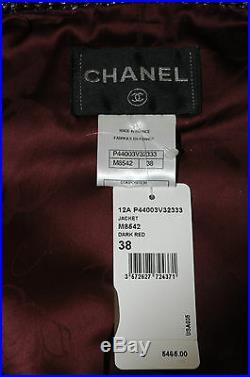 Neuf Chanel Défilé Rouge Foncé Noir or Argent Lurex Costume Veste 38 Rare