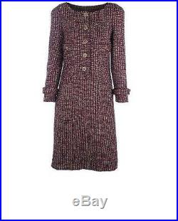 Neuf Chanel or Noir Rouge Lurex Orné Tweed Costume Manteau Robe 36 38
