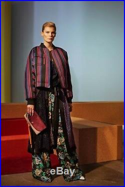 Neuf Diane Von Furstenberg Dvf Carrée Veste Blouson Manteau Noir Rouge BLEU S
