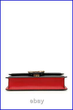 Neuf Dolce & Gabbana Amore Dg Logo Noir Rouge Sac Cuir Sac à Main Petit