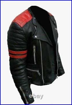 Neuf HOMME Design Classique Brando Rouge et Noir Motard Cuir Véritable Veste