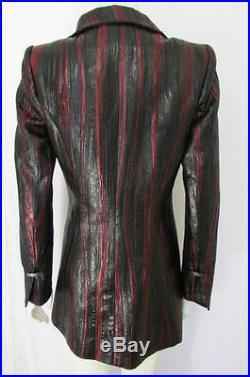 Neuf Jacques Fath Paris Femme Veste Mode Manteau Noir Rouge Bordeaux Taille 38
