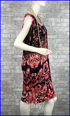 Neuf Jean Paul Gaultier Jpg Défilé Extensible Rouge Noir Robe 8 Us 44 It M