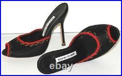 Neuf Manolo Blahnik Noir Satin Rouge Glissières Sandales Barbie Talons Shoes 37