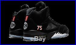 Neuf Nike Air Jordan 5 Rétro Noir/Rouge Paris Saint Germain AV9175 Baskets 10.5